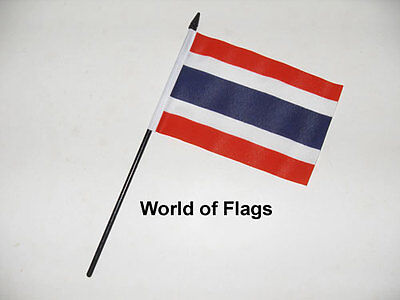 £3.50 • Buy THAILAND SMALL HAND WAVING FLAG 6  X 4  Thai Asia Crafts Table Desk Top Display