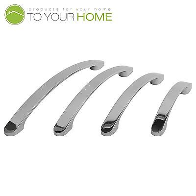 Bowed Chrome Kitchen Cupboard Cabinet Drawer Door Handles 4 Sizes • 2.39£