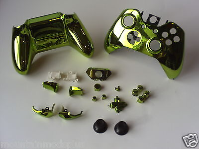 NEW 21p GREEN Gloss Chrome Xbox One Custom Full Controller Shell Replacement Kit • 8.99$
