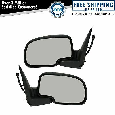 $73.76 • Buy Side View Mirrors Power Heated Smooth Black W/ Puddle LH & RH Pair For Chevy GMC