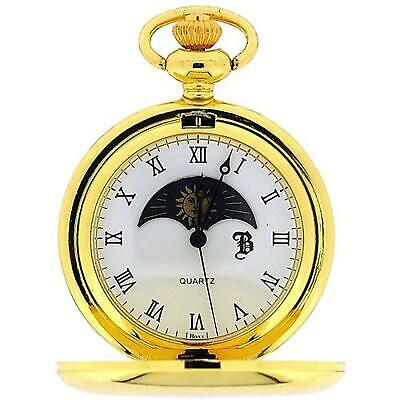 £22.95 • Buy Boxx Goldtone Sun And Moon Phase Dial Pocket Watch 12 Inch Chain BOXX192