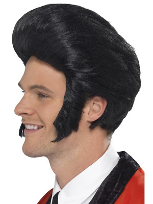 AU28.95 • Buy 50's Quiff King Wig Black With Sideburns Fancy Dress Costume Accessory