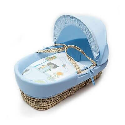 £22.49 • Buy Beary Nice Blue Moses Basket Bedding Set Dressings 4 Piece For Palm And Wicker