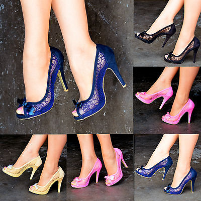 Ladies Floral Lace High Heels Peep Toe Shoes Bow Party Evening Shoes Size S30292 • 14.99£