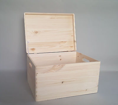 Extra Large Plain Wood Box Wooden Chest Storage Decoupage Craft Handles Lid X1 • 22.99£