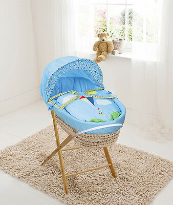 £40.99 • Buy High Flyer Blue Palm Moses Basket With Folding Stand, Bedding And Mattress