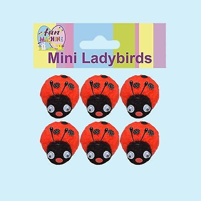 Easter Arts & Craft Bonnet Decorations Egg Hunt - 6 Pack Pom Pom Ladybirds • 2.86£