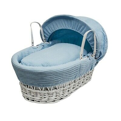 £22.49 • Buy Blue Waffle Moses Basket Bedding Set Dressings 4 Piece For Palm And Wicker