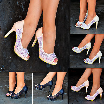 Ladies Floral Lace High Heels Peep Toe Shoes Wedding Party Evening Pump Size 203 • 10.99£