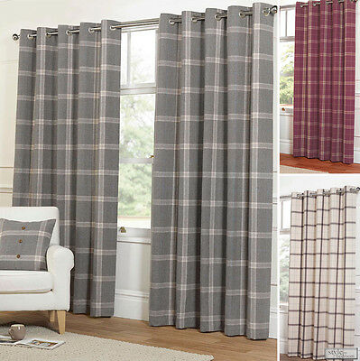EYELET Ring Top WOOL Feel Heavy Highland Tartan Plaid Check Lined Curtains • 84.99£