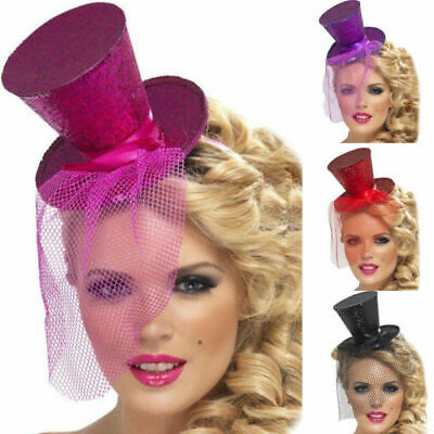 Glitter Show Girl Top Hat Mini Fascinator Burlesque Adults Fancy Dress • 5.99£