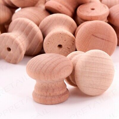 PACK OF 10 Natural 25mm Drilled Small Plain Wooden Door/Drawer Knobs/Handles Set • 4.82£
