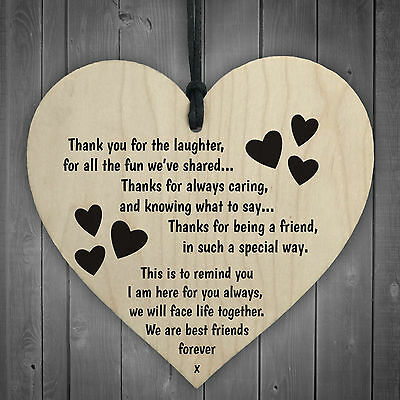 £3.99 • Buy Friendship Sign Best Friend Plaque Gift Shabby Chic Wood Hanging Heart Thank You