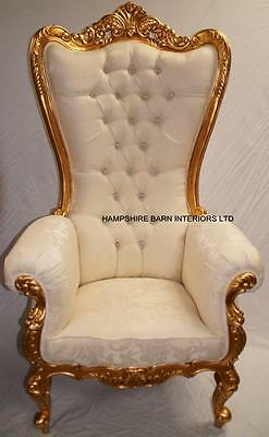 Huge Tall Throne Chair Events Wedding Stage TV Photographic Gold Cream Crystals • 1,699£