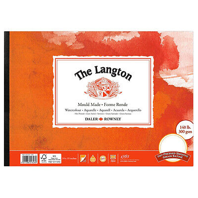 Daler Rowney Langton Glued Pad 140lb Hot Pressed 14x10in • 17.10£