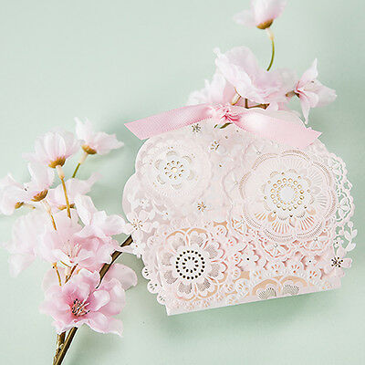 £1.59 • Buy Luxury Pink Lace  Laser Cut Wedding Favour Boxes Party Gift Candy Bags & Ribbons