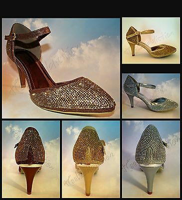 £15.95 • Buy Ladies Diamante Sparkly MID Heel Ankle Strap Sandals Dancing Shoes Size S30405