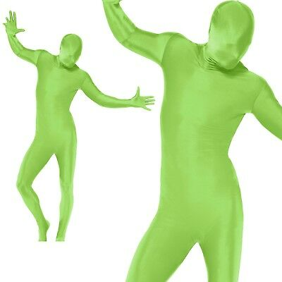Mens Second Skin Green Bodysuit Full Body Lycra Fancy Dress Party Costume New • 14.99£