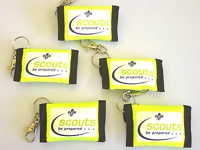 Scout Hi-viz CPR Key Ring Pouches With One Way Valve Face Shield X 10 • 16.95£