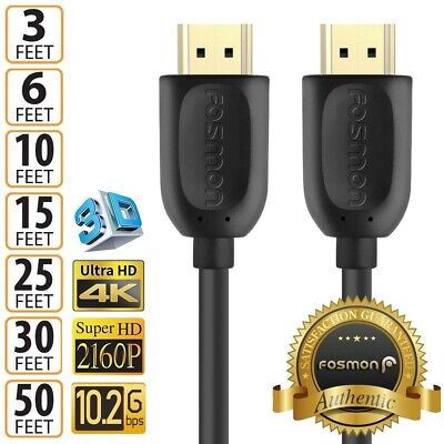 $ CDN18.14 • Buy HDMI Cable 1.4 4K 3D HDTV PC Xbox ONE PS4 High Speed Plug 3 6 10 15 25 30 50 FT