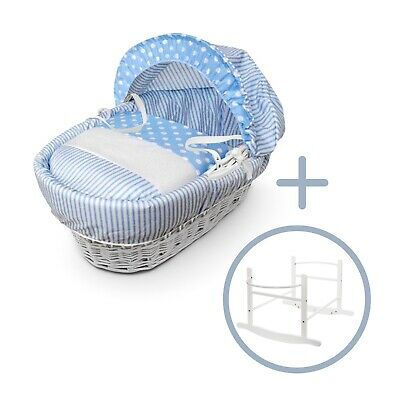 £59.99 • Buy  Blue Spots & Stripes White Wicker Moses Basket On White Rocking Stand & Bedding