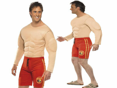 £29.49 • Buy Mens Baywatch Muscle Chest Costume Beach Lifeguard Adult Fancy Dress M L