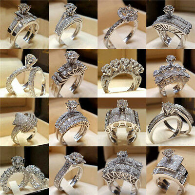 AU1.45 • Buy Women Engagement Wedding Ring Crystal Rhinestone White Gold Plated Rings Jewelry