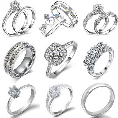 AU1.94 • Buy Women Fashion Crystal White Gold Plated Wedding Engagement Bridal Rings Jewelry