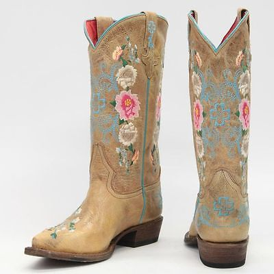 $119.95 • Buy Girls Macie Bean Leather Cowgirl Boots! Mk8012-floral With Cross On Shaft! Nib