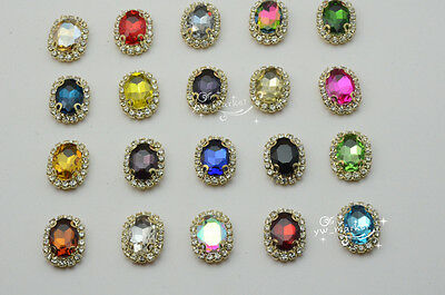 $5.31 • Buy 10 Pcs Costume Dress Oval Color Rhinestone Applique Sewing On Button 10mm X 14mm
