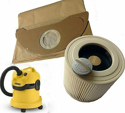 £14.99 • Buy For Karcher Wet & Dry WD2 WD3.500 Vacuum Cleaner Filter & 10 Dust Hoover Bags