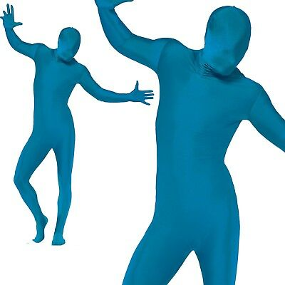 Mens Second Skin Blue Bodysuit Full Body Lycra Fancy Dress Party Costume M-XL • 13.99£