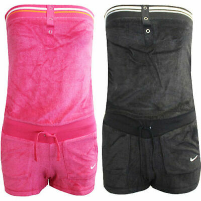 Nike Solid Terry Cover Up Bandeau Womens Jumpsuit Playsuit 417334 010 646 • 9.99£