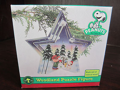 PEANUTS Charlie Brown CHRISTMAS 3 Piece WOODLAND PUZZLE Figure NEW SEALED • 9.93$
