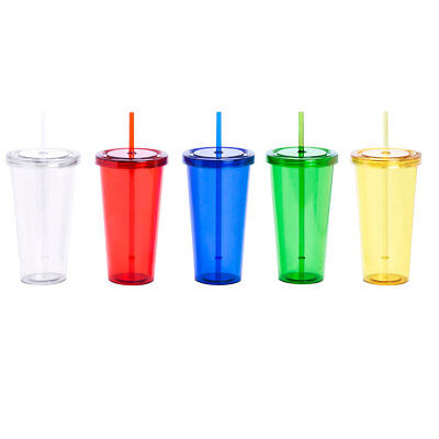 750ml Plastic Cup With Lid And Straw Smoothie Tumbler BPA Free Juice Drink Glass • 12.99£