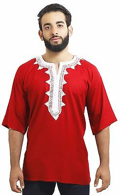 Moroccan Men Tunic Shirt Cafan Casual Handmade Embroidered Cotton Large Red • 19.30£