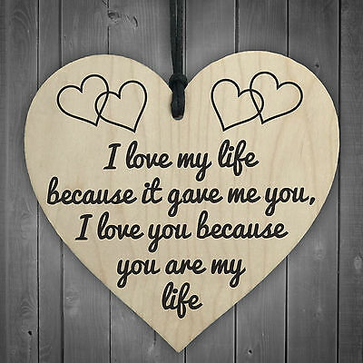 I Love You You Are My Life Wooden Hanging Heart Anniversary Valentines Gift Sign • 3.99£