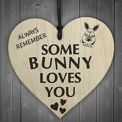 £3.99 • Buy Some Bunny Loves You Novelty Wooden Hanging Heart Plaque Love Anniversary Gift