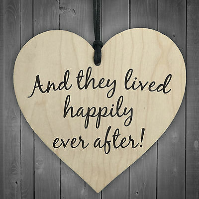 They Lived Happily Ever After Wooden Hanging Heart Plaque Love Wedding Gift Sign • 3.99£