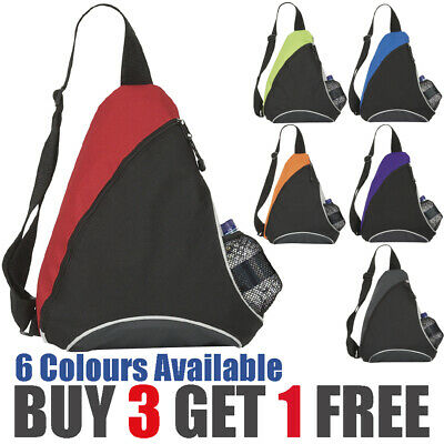 £3.99 • Buy Back To School Bag Mono Strap Sports Triangle Rucksack With Water Bottle Pouch