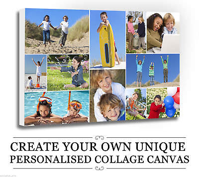 Your Photo/Picture  PERSONALISED COLLAGE CANVAS A4 A3 A2 A1 A0 320gsm 30mm FRAME • 13.22£