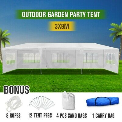 AU139.95 • Buy 3x9m White Walled Waterproof Outdoor Marquee Gazebo Party Wedding Tent Canopy
