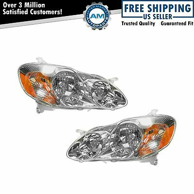 $74.78 • Buy Headlights Headlamps Left & Right Pair Set NEW For 03-04 Toyota Corolla CE & LE