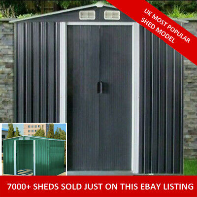 New Metal Garden Shed 6 X 4, 8 X 4, 8 X 6, 10 X 8 Garden Storage WITH FREE BASE • 259.99£
