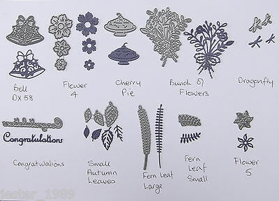 £2.50 • Buy TATTERED LACE MINI DIES 3 - Flowers Leaves Cherry Pie, Dragonfly Congratulations