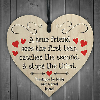 £3.99 • Buy Thank You For Being A Great Friend Wooden Hanging Heart Plaque Friendship Gift