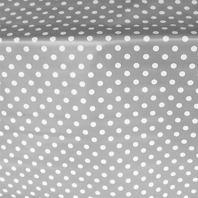 French Grey Pvc Large Polka Dot Oilcloth Vinyl Fabric Table Wipeclean Tablecloth • 5.30£