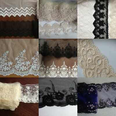 £3.39 • Buy  Embroidered Nylon Lace 1 Yard Handcraft Trim Dress Sewing Fabric Craft