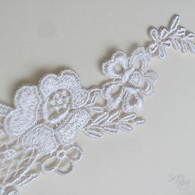 £2.35 • Buy Bridal Lace Applique Wedding Motif Foral White Embroidery Trimming Two Pack