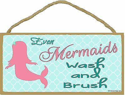 Even Mermaids Wash And Brush Childrens Bathroom Sign Plaque 5 X10  • 9.40£